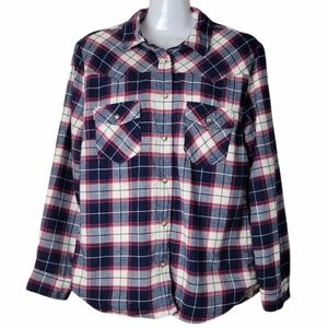 Jachs Girlfriend Plaid Lined Flannel Shacket Red Blue M